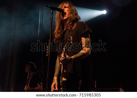 SAN FRANCISO, CA - SEPTEMBER 13, 2017: Against Me! in concert at the Regency Ballroom in San Francisco, CA