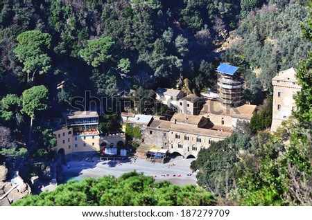 San Fruttuoso abbey in Camogli, Liguria, Italy  - stock photo