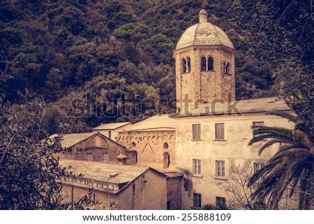 San Fruttuoso abbey in Camogli, Liguria, Italy. Toned picture - stock photo