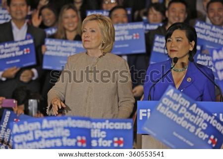 SAN GABRIEL, LA, CA - JANUARY 7, 2016, Democratic Presidential candidate Hillary Clinton speaks to Asian American and Pacific Islander (AAPI) members, including Democrat Representative Judy Chu. - stock photo