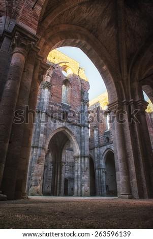 San Galgano abbey, near Siena, inner view of a pearl of Tuscany - stock photo