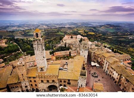San Gimignano aerial view, Tuscany - stock photo