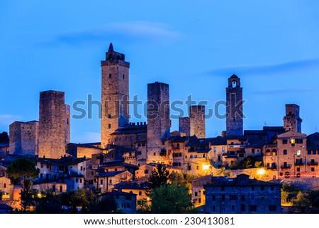 San Gimignano at twilight, Tuscany, Italy - stock photo