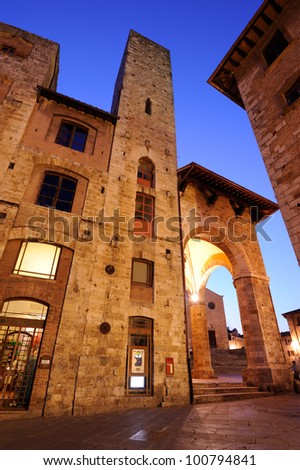 San Gimignano is a jewel of the tuscan medieval architecture - stock photo