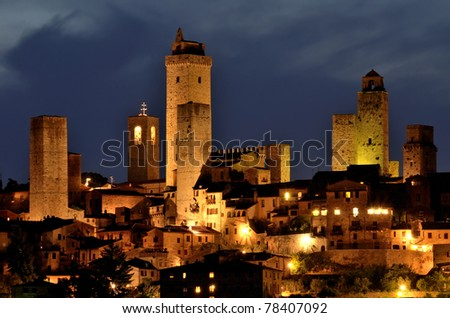 San Gimignano is a small walled medieval hill town in the province of Siena, Tuscany, north-central Italy - stock photo