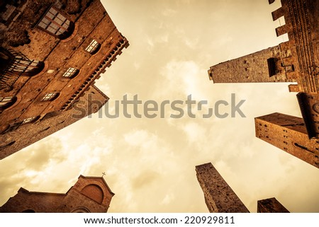 San Gimignano (Italy) Famous medieval town of beautiful towers in the heart of the Tuscan countryside in the province of Siena. - stock photo