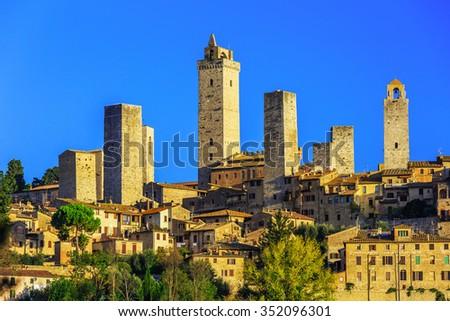 San Gimignano, Italy. Medieval village at sunrise. Tuscany. - stock photo