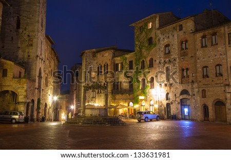 San Gimignano Medieval Village at night, Tuscany in  Italy, Europe, - stock photo