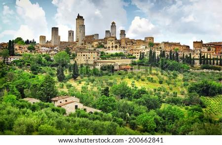 San Gimignano panorama - medieval town of Tuscany, Italy - stock photo