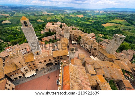 San Gimignano - Siena Tuscany Italy / Aerial view of San Gimignano, medieval town (UNESCO heritage), from the Torre Grossa of the Palazzo Comunale, Siena, Tuscany, Italy - stock photo