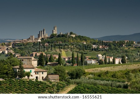 San Gimignano view with grey sky, before rain - stock photo