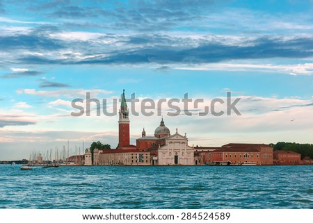 San Giorgio di Maggiore church at evening in Venice lagoon, Italia