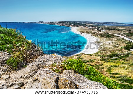San Giovanni di Sinis beach on a clear day, Sardinia - stock photo