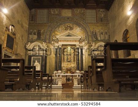 San Giovanni Laterano at Rome - Baptysterium - stock photo