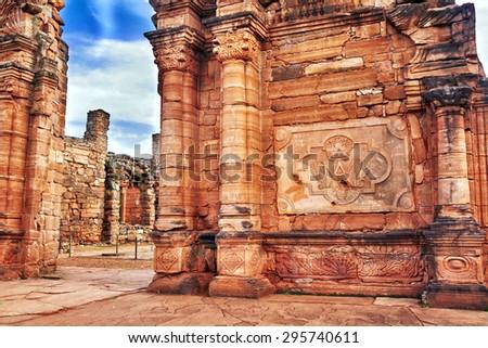 SAN IGNACIO MINI JEZIUTES RUINS, MISIONES, ARGENTINA - NOV 26, 2014: Ruins of the Jesuit reduction San Ignacio Mini of the Guaranisi, UNESCO World Heritage Site, Misiones, Argentina, South America - stock photo
