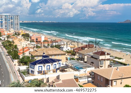 San Javier La Manga, Spain - SEPTEMBER 2015: City top view