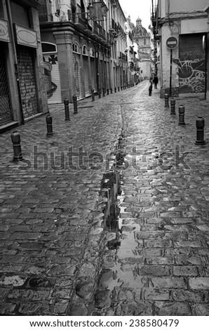 San Jeronimo street, Granada center - stock photo