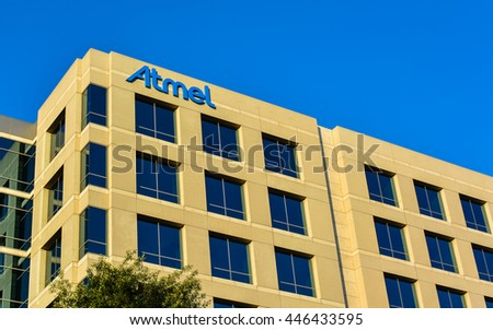 San Jose, CA - Jul. 2, 2016: Atmel Corp. Founded in 1984, Atmel Corp. is an American-based designer and manufacturer of semiconductors, specializing on embedded systems built around microcontrollers.