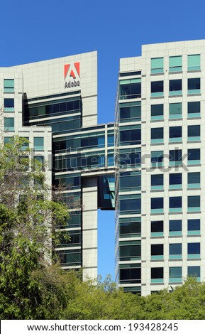 SAN JOSE, CA - MARCH 18: The Adobe World Headquarters located in downtown San Jose, California on March 18, 2014. Adobe Systems is an American computer software company. - stock photo