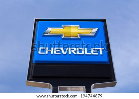 SAN JOSE,CA/USA - MAY 24, 2014: Chevrolet automobile dealership sign.  Chevrolet is an American automobile division of the American manufacturer General Motors. - stock photo