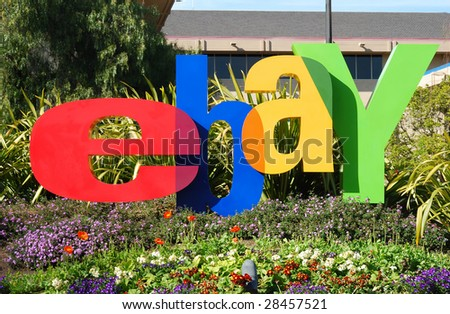 SAN JOSE, CALIFORNIA - MARCH 28, 2009 : eBay Inc. company logo in front of the Whitman Campus on a sunny day March 28, 2009 in San Jose. eBay recently announced to separate Skype through IPO. - stock photo