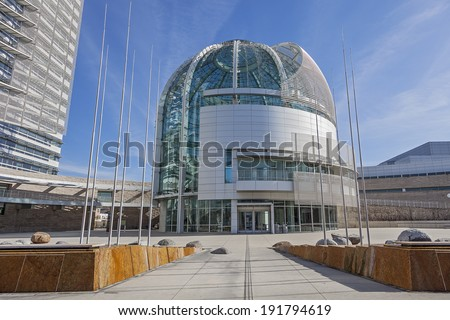 SAN JOSE, CALIFORNIA - MARCH 1, 2013: The Modern Architecture of the San Jose City Hall, California. San Jose City Hall opened for the public on October 15, 2005 and designed by Richard Meier. - stock photo