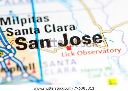 San Jose California Usa On Map Stock Photo 796083811 Shutterstock