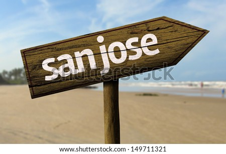 San Jose, California wooden sign with a beach on background - stock photo