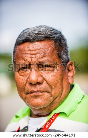 SAN JOSE, COSTA RICA - JAN 6, 2012: Unidentified Costa Rican serious man. 65.8% of Costa Rican people belong to the White (Castizo) ethnic group