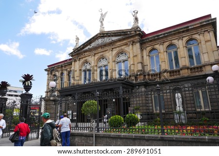 SAN JOSE, COSTA RICA-MARCH 3, 2015:  The National Theater in Costa Rica first opened to the public in 1897.  It remains a top tourist destination today. - stock photo