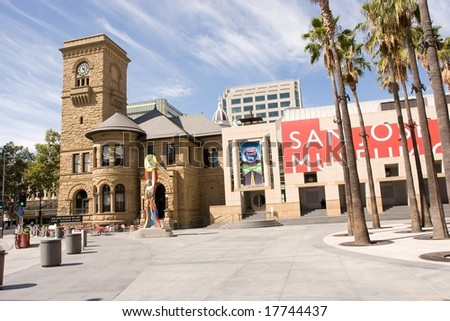 San Jose Museum of Art is an art museum in Downtown San Jose, California, USA. Founded in 1969, the museum hosts a large permanent collection emphasizing West Coast artists . - stock photo
