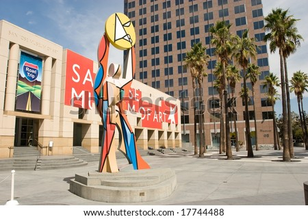 San Jose Museum of Art is an art museum in Downtown San Jose, California, USA. Founded in 1969, the museum hosts a large permanent collection emphasizing West Coast artists. - stock photo
