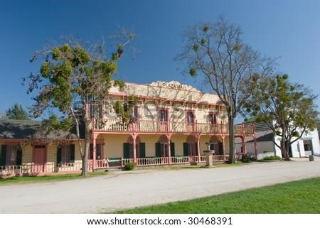 San Juan Bautista Plaza Historic District, also known as San Juan Bautista State Historic Park is a historic district in San Juan Bautista, California - stock photo