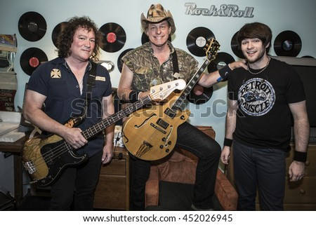 SAN JUAN CAPISTRANO, CA - JULY 5: Ted Nugent, Greg Smith and Jason Hartless perform at The Coach House on July 5, 2016 in San Juan Capistrano, California. - stock photo