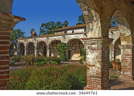 San Juan Capistrano mission arches - stock photo