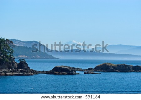 San Juan islands with Mount Baker on background - stock photo
