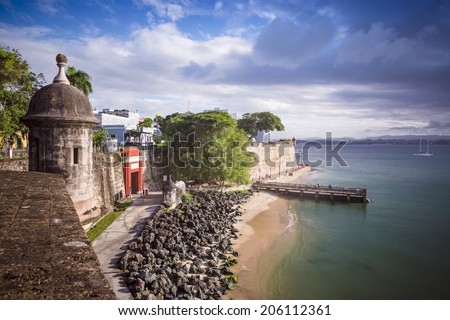 San Juan, Puerto Rico coast. - stock photo