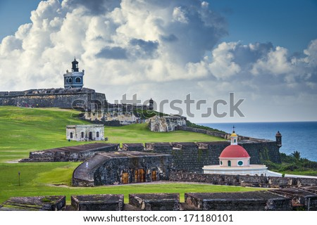 San Juan, Puerto Rico historic Fort San Felipe Del Morro. - stock photo