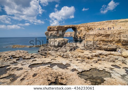 San Lawarenz, Gozo - May 06, 2016: Azure Window on the Maltese island Gozo in Mediterranean sea