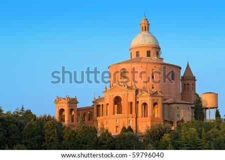 San Luca Sanctuary at dusk. Bologna, Italy. - stock photo