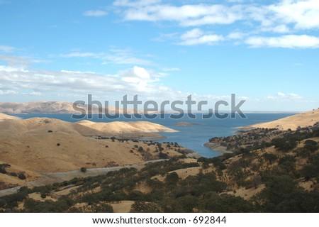 San Luis Reservoir near Los Banos, California - stock photo