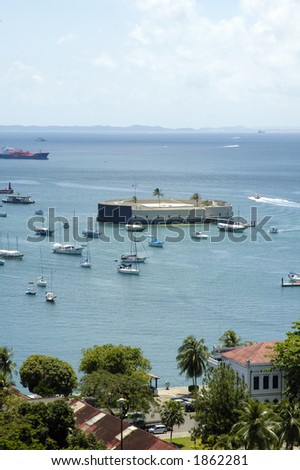 San Marcelo Fortress - Famous tourist point in Salvador - Bahia - Brazil - stock photo