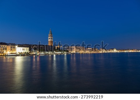 San Marco District Skyline in Venice at night. The  Campanile di San Marco Bell Tower can be seen. - stock photo