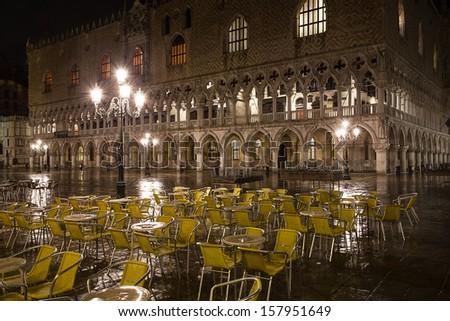 San Marco square at night. Venice. Italy. - stock photo