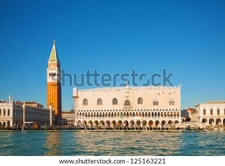 San Marco square in Venice, Italy as seen from the lagoon - stock photo