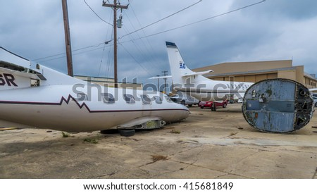 SAN MARCOS, TEXAS - APRIL 16 2016: a whole plane a half plane and part of a plane