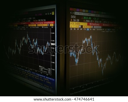 SAN MARINO  AUGUST 2016: two Bloomberg terminals showing financial markets and stock charts