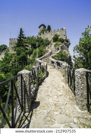 San Marino castle. Summer time. Sunny day
