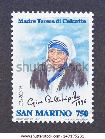 SAN MARINO - CIRCA 1996: a postage stamp printed in San Marino showing an image of Nobel Peace Prize winner Mother Teresa, circa 1996. - stock photo