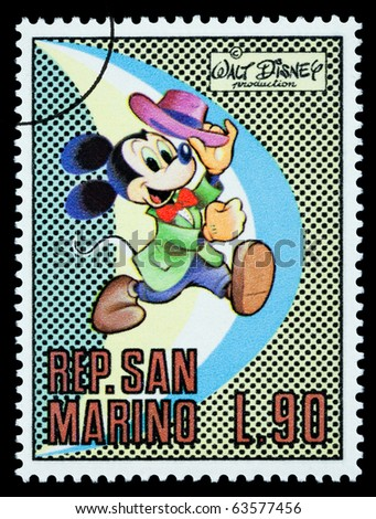 San Marino - CIRCA 1970: A postage stamp printed in San Marino showing the Disney character Mickey Mouse, circa 1970 - stock photo